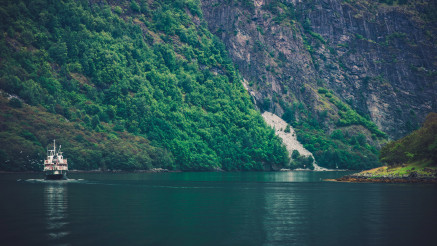 Norwegian Fjords Landscape with Ferry