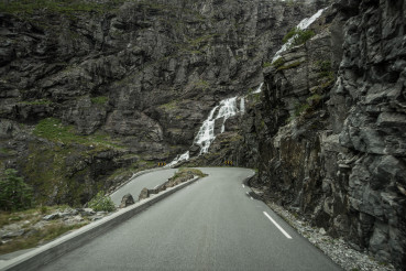 Norwegian Trollstigen Scenic Road with Stigfossen Waterfalls