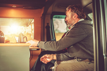 People Inside Camper Van