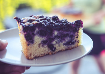 Piece of Blueberry Cake on a Plate