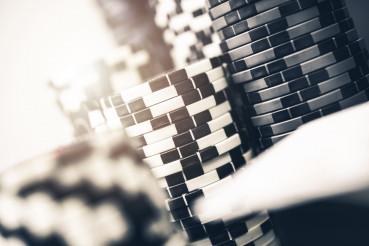 Multiple Piles Of Poker Chips.