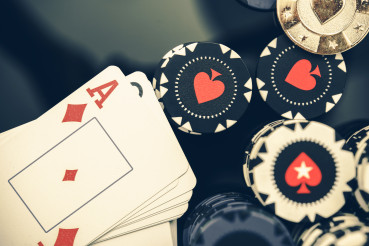 Casino Poker Chips And Deck Of Cards.