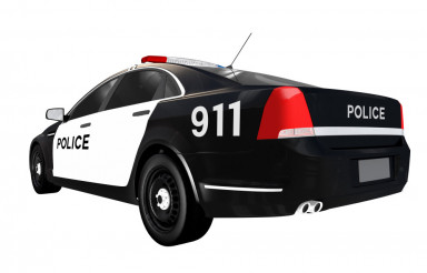 Police Car Rear View Isolated
