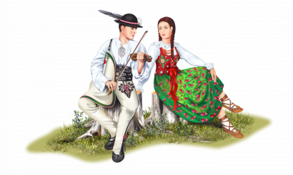 Polish Zakopane Highlanders Couple PNG Graphic