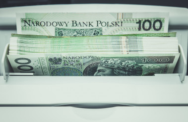 Polish Zloty Banknotes Inside Bills Counting Machine