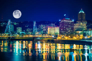 Portland Skyline with Moon