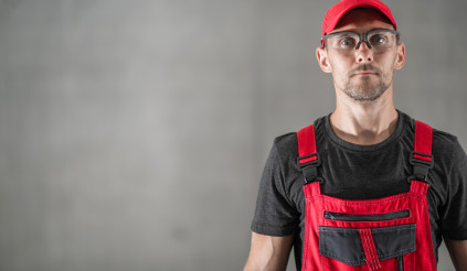 Portrait of Professional Industrial Worker with Copy Space