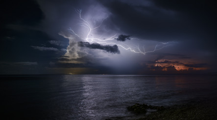 Powerful Electric Storm Over the Sea
