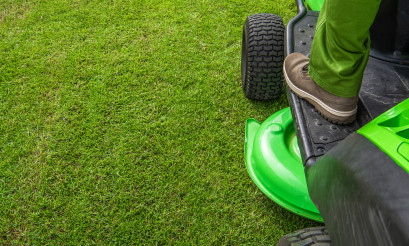 Professional Grass Mowing Backdrop with Copy Space