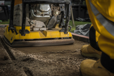 Professional Soil Compactor Job Close Up