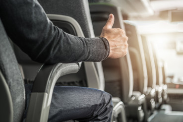 Public Transportation Passenger Showing His Thumb Up