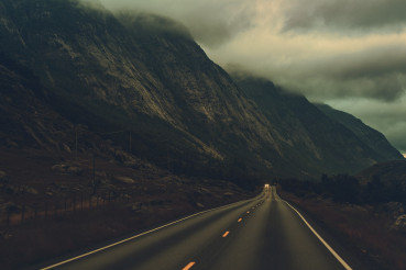Rainy and Foggy Norwegian Weather and a Highway