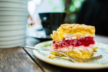 Raspberry Cake on a Table