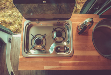 Recreational Vehicle RV Camper Stove and Kitchen Area