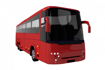 Red Coach Bus PNG Illustration