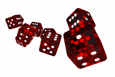 Red Glassy Casino Dices 3D PNG Image
