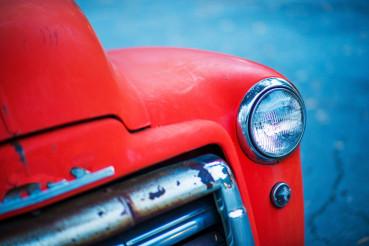 Red Oldtimer Pickup Closeup