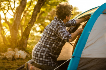 Retired Woman Tent Vacation