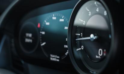 Rev Counter Tachometer Instrument in Modern Car