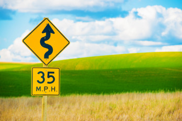 Right Winding Road Sign