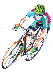 Road Bicycle Racer Geometric Design Illustration