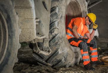 Road Construction Worker Taking Break