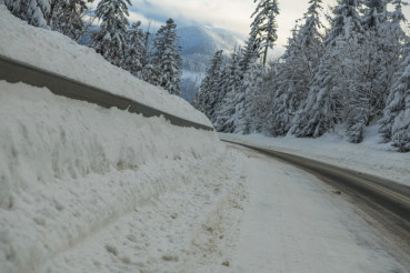 Road Covered by Heavy Snow