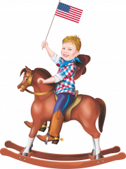 Rocking Horse Ride with American Flag PNG Illustration