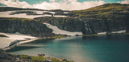 Rocky Natural Scandinavian Landscape with Lake and Waterfall