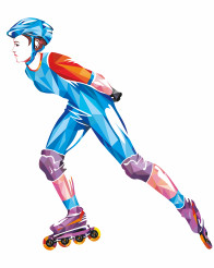 Roller Skating Woman Geometric Shapes Illustration