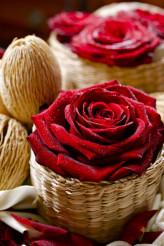 Roses in Wattle Baskets