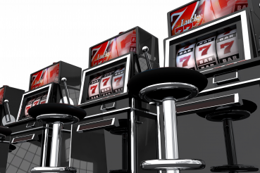 Row of Vegas Slot Machines PNG Isolated Graphic