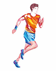 Running Sportsman Colorful Geometric Design