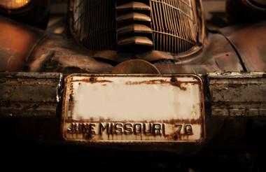 Rusty Classic Car Plate