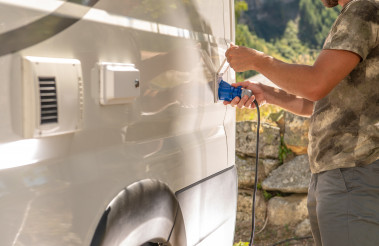 RV Camper Van Electricity Hookup Attaching