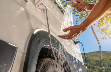 RV Camper Van Outdoor Shower Taking
