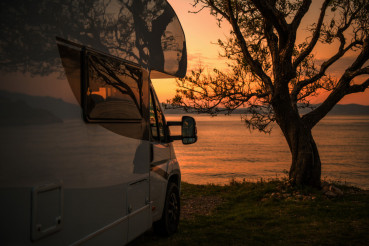 RV Camper Van Scenic Sunset