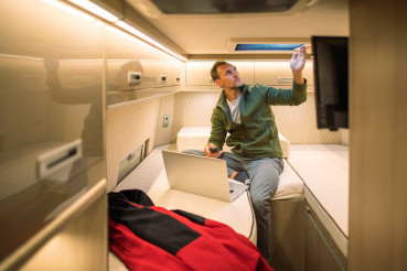 RV Class B Motorhome Owner Chilling Out Inside His Camper