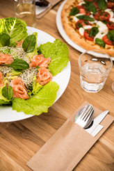 Salmon Salad and Pizza