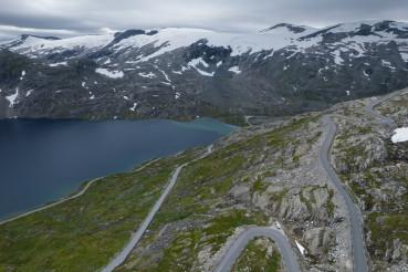 Scenic Alpine Route Near Famous Norwegian Village of Geiranger