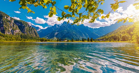 Scenic Austrian Almtal Valley Almsee Lake