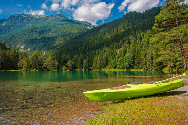 Scenic Bavarian Lake Kayaking During Summer Season