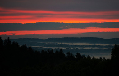 Scenic Foggy Sunset HIlls