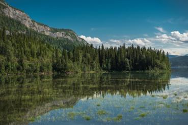 Scenic Lake Reflections Norwegian Nordland County Saltfjellet–Svartisen National Park