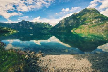 Scenic Norwegian Glacial Lake