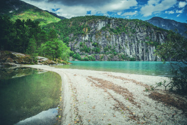 Scenic Norwegian Lake Beach