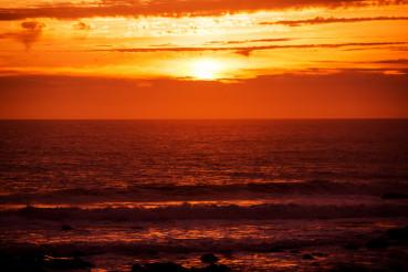 Scenic Red Ocean Sunset