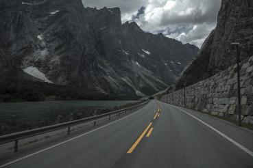 Scenic Road Though Dramatic Norwegian Landscape