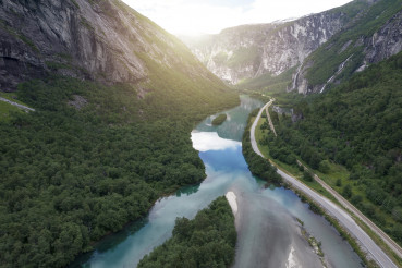 Scenic Route E136 in the Vestland County of Norway Aerial View.