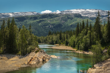 Scenic Summer Landscape with River and Mountains
